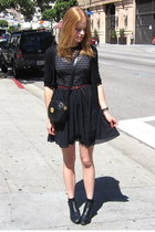 black ankle vintage boots - black lace chiffon American Apparel dress - black go