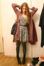 Brown-elle-cardigan-gray-vintage-dress-gray-stella-mccartney-purse-black-h