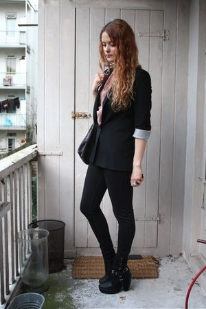 black H&M blazer - black American Apparel jeans - black Stella McCartney purse -
