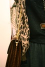 Brown-h-m-cardigan-brown-vintage-purse-gray-american-apparel-skirt-black-h