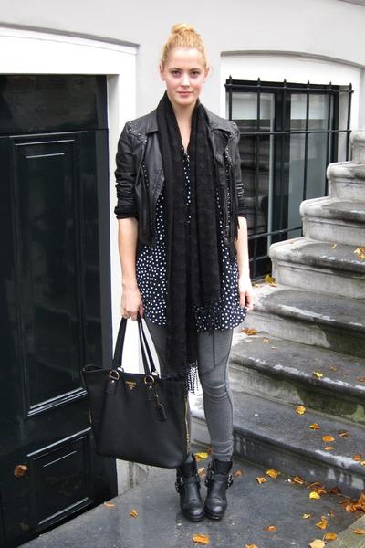 black buckle Dolce Vita boots - black polkadot Motel dress