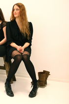 black tinroof vintage dress - black Topshop tights - black Wedins boots