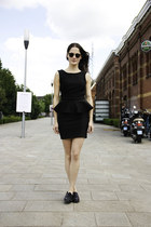 black peplum Topshop dress - dark brown clubmaster ray-ban sunglasses