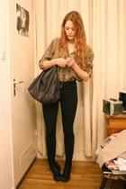 brown vintage blouse - gray Stella McCartney purse - black American Apparel jean