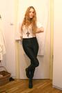 Black-american-apparel-pants-white-h-m-top-black-wedins-boots-brown-gift-n