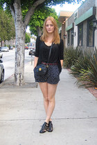 black vintage purse - black polka dot Motel shorts - black seventies ecote sanda