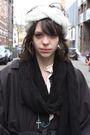 Gray-h-m-trend-coat-black-h-m-shoes-blue-episode-necklace-black-h-m-scarf
