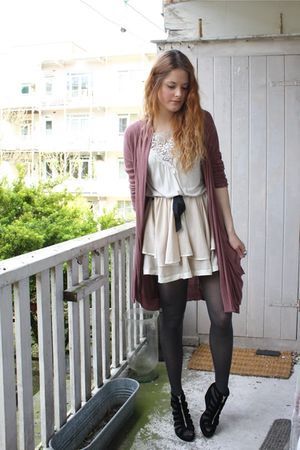 white H&amp;M top - black H&amp;M shoes - beige Topshop skirt - brown elle cardigan