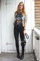black bagatt shoes - black zipper American Apparel jeans - beige leather Zara ja