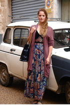 brown elle cardigan - blue vintage bag - blue Ebay dress - blue vintage shoes