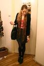 Beige-topshop-coat-yellow-h-m-scarf-gray-american-apparel-skirt-black-vint