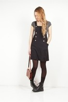 black vintage dress - gray H&M top - black H&M boots - brown vintage purse