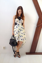 black from Italy bag - beige waterfall Topshop dress - black H&M sandals