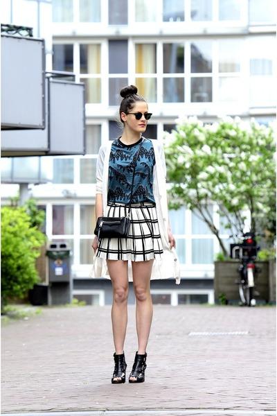 black zipper Rebecca Minkoff bag - ivory olive skirt - teal asos top