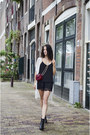 Red-leopard-reiss-bag-black-lace-topshop-shorts-black-cami-h-m-trend-top