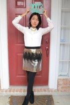 silver skirt - black black booties Arizona boots - white Ana shirt