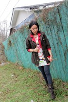 red red moto Abercrombie jacket - forest green green parka Forever21 jacket