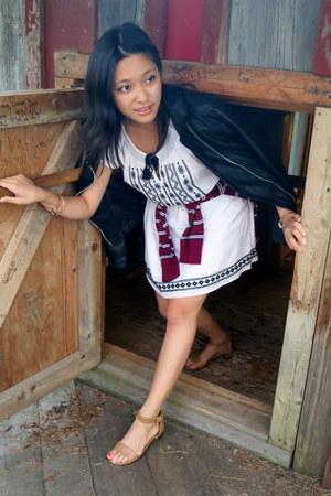white peasant dress Forever 21 dress - black Forever21 jacket