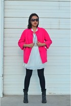 black cowboy boots - white cotton on dress - hot pink coat - black opaque tights
