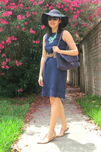 Joe Fresh dress - navy Charlotte Russe bag - Zara sandals - NA belt
