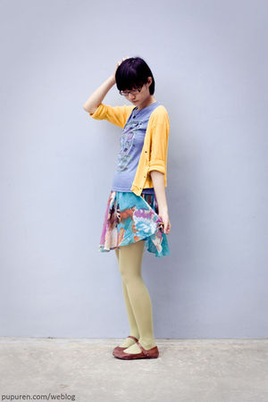 Hurs t-shirt - miss sixties skirt - yellow cardigan - 3dots leggings - TrendyZon