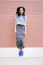 blue platform H&M shoes - heather gray maxi Forever 21 dress