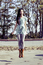 Light-brown-zippered-top-shoes-boots-aquamarine-forever-21-dress