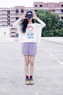 Light-purple-cotton-forever-21-shorts-magenta-cute-bear-kiki-socks-socks