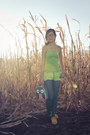 Teal-top20-leggings-lime-green-dyed-forever21-shorts