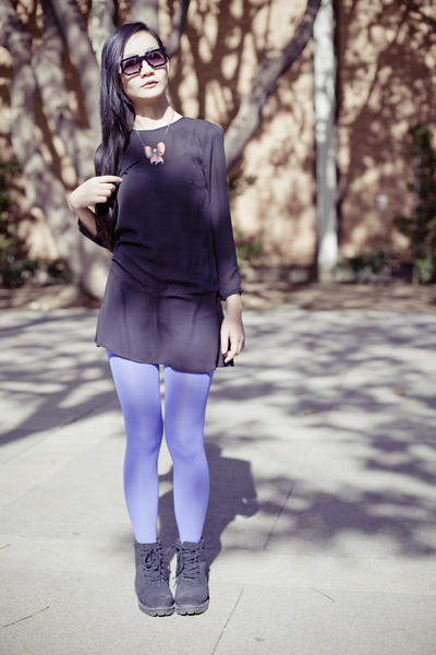 electric blue far easy tights - mens fila boots - H&M dress