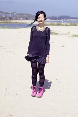 black bow mesh romwe leggings - hot pink hot pink lamper Dr Martens boots