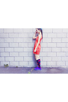 red Forever 21 dress - blue Urban Outfitters shoes - deep purple HUE socks