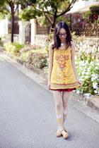 maroon skirt - light yellow Forever 21 dress - ivory rainy day print Moe tights