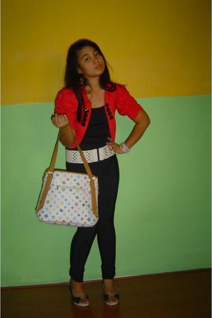 white Louis Vuitton bag - black Forever21 leggings - hot pink Mango blazer