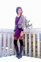 white Joe Fresh cardigan - purple H&M dress - black Joe Fresh stockings - black