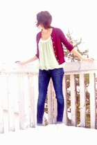 maroon Joe Fresh cardigan - lime green winners blouse - blue Gap jeans - cream G
