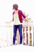 maroon Joe Fresh cardigan - lime green winners blouse - blue Gap jeans - cream G
