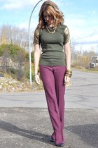 olive green gold sleeves Joe Fresh shirt - maroon Self Made pants