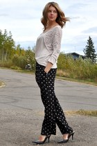 black polka dot Suzy Shier pants - off white H&M blouse - black Nine West pumps