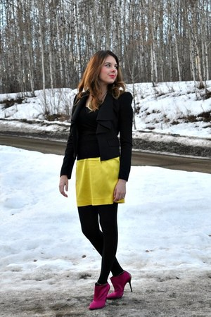 black BCBG blazer - yellow Self Made skirt - hot pink DKNY pumps