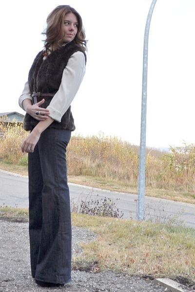 dark brown faux fur Self Made vest - navy Buffalo jeans - ivory Zara blouse