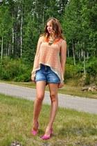 carrot orange Self Made blouse - hot pink Nine West heels