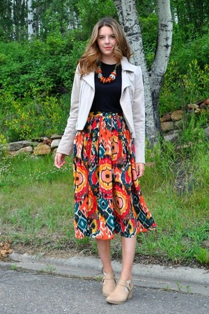 orange ikat print Self Made skirt - tan envy boots - beige suede  jacket