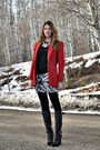 Black-bcbg-boots-red-blazer-off-white-self-made-skirt