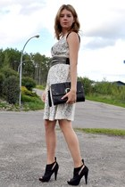 black Spring heels - ivory lace kensie dress - black Target bag