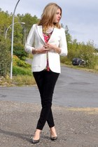 white H&M blazer - hot pink floral  blouse - black velveteen Lauren Conrad pants