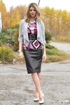 black faux leather skirt - white Dynamite cardigan - magenta INC blouse