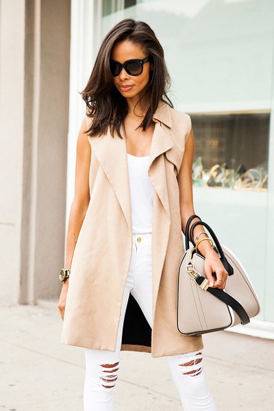 beige All Saints coat - white Frame Denim jeans - tan Givenchy bag
