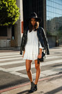 Black-studded-anine-bing-boots-white-derek-lam-dress