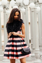 black Chanel purse - bubble gum Topshop dress - black Yves Saint Laurent heels